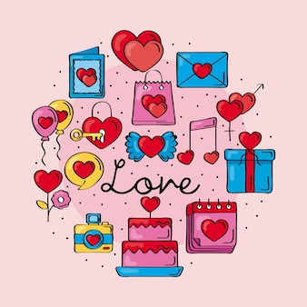 Liefde doodles pictogrammen rond