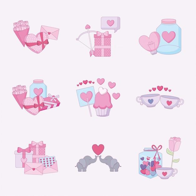 Liefde en gelukkige valentijnsdag icon set