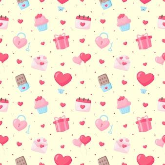 Liefde en gelukkige valentijnsdag pictogrammen instellen naadloze patroon