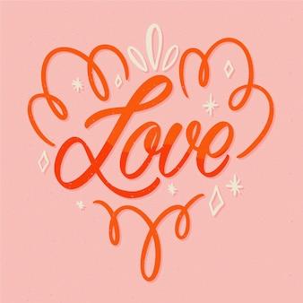 Liefde en hart tekst belettering