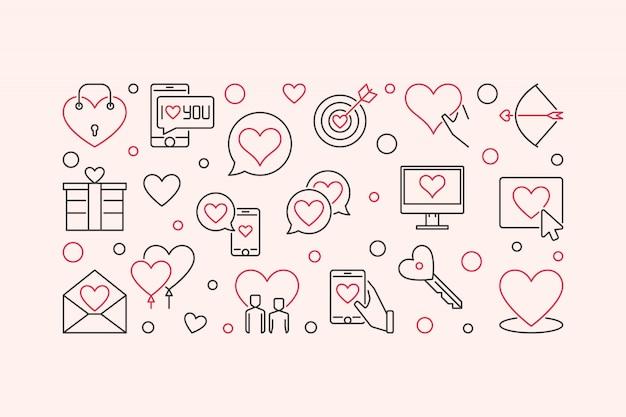 Liefde en interpersoonlijke relatie vector overzicht banner