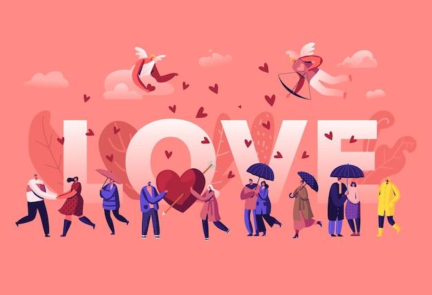 Liefde en liefdevolle relaties concept. cartoon vlakke afbeelding