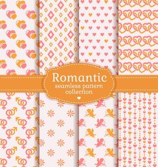 Liefde en romantische naadloze patronen. vector set
