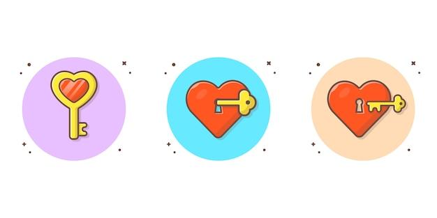 Liefde en sleutel vectorillustratie pictogram