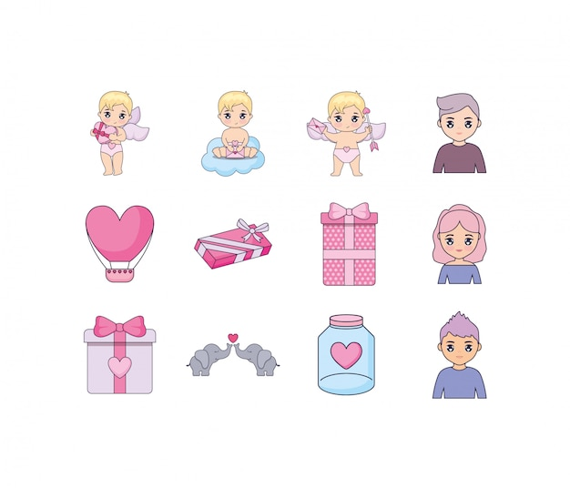 Liefde en valentijnsdag icon set