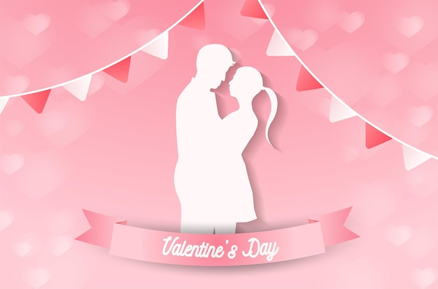 Liefde en valentijnsdag liefhebbers staan in de weilanden en een papieren hartvormige ballon