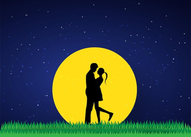 Liefde en valentijnsdag liefhebbers staan in de weilanden en een papieren kunsthartvorm