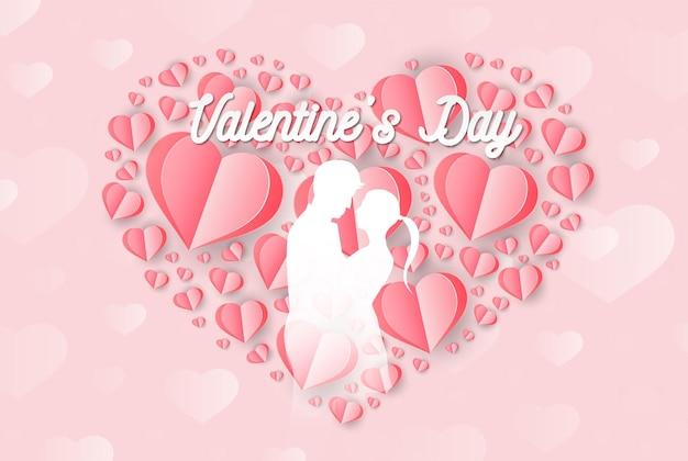 Liefde en valentijnsdag liefhebbers staan papieren kunst hartvormige ballon zwevend in de lucht ambachtelijke stijl