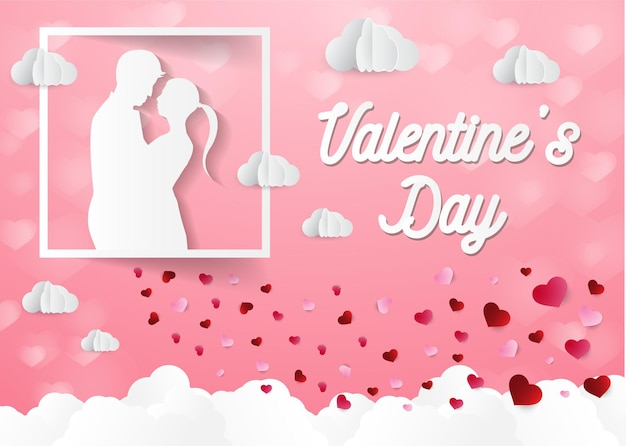 Liefde en valentijnsdag lovers staan en een papieren hartvormige ballon die in de lucht zweeft