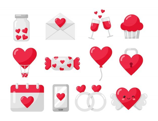 Liefde en valentijnskaartpictogrammen geplaatst die op wit worden geïsoleerd