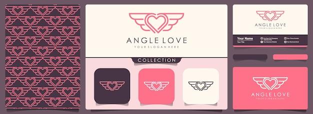 Liefde en vleugels logo met ontwerpsjabloon voor visitekaartjes.