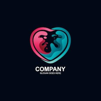 Liefde en vloeibaar logo