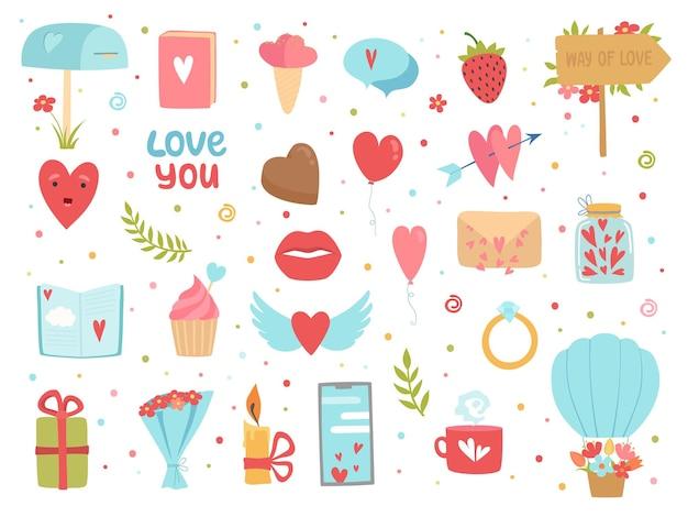 Liefde en vriendschap pictogrammen. gelukkige gemeenschap en relatie romantiek beelden harten bloemen vector concept. liefde en vriendschap, romantische valentijn, geluk romantiek, passie illustratie Premium Vector