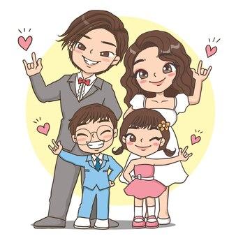 Liefde familie schattig karakter cartoon model emotie illustratie clipart tekening kawai