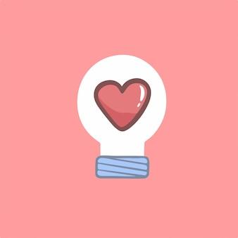 Liefde gloeilamp symbool vectorillustratie