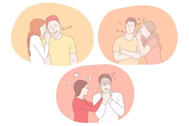 Liefde, haat en verschillende emoties in het concept van paarrelaties.