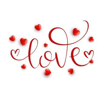 Liefde. hand getrokken kalligrafie zin met 3d-harten.