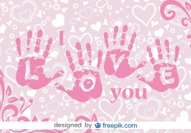 Liefde handen afdrukken vectorillustratie
