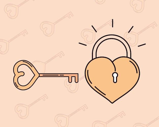 Liefde hangslot sleutel