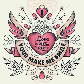 Liefde hangt in de lucht illustratie