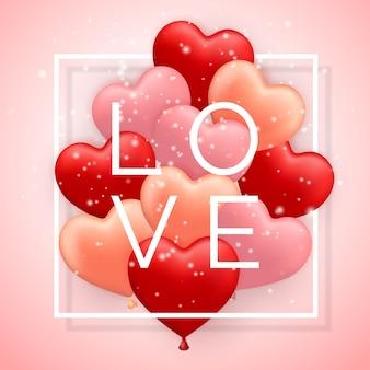 Liefde, happy valentijnsdag, rode, roze en oranje ballon in vorm van hart met lint.