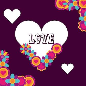 Liefde hart bloemen bloemen decoratie hippie vrije geest