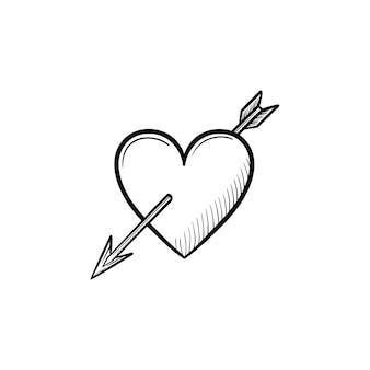 Liefde hart met cupid pijl hand getrokken schets doodle icon