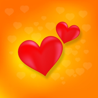 Liefde hart paar symbool rood in oranje bokeh achtergrond wazig