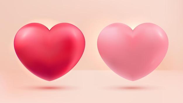 Liefde hart set rood en roze 3d realistisch op pastel achtergrond