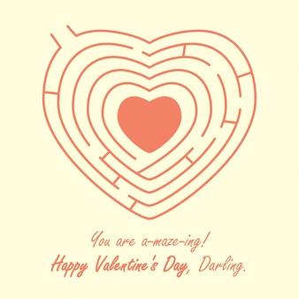 Liefde hartvorm een doolhof enigma puzzel roze verbazingwekkend
