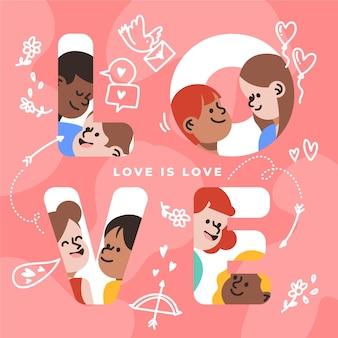 Liefde is geïllustreerd liefdeconcept