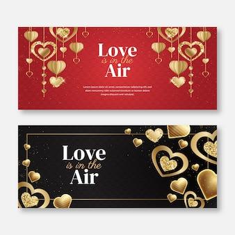 Liefde is in de lucht banners sjabloon