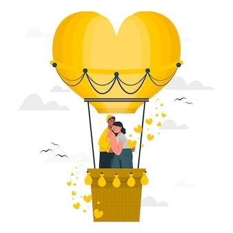 Liefde is in de lucht concept illustratie