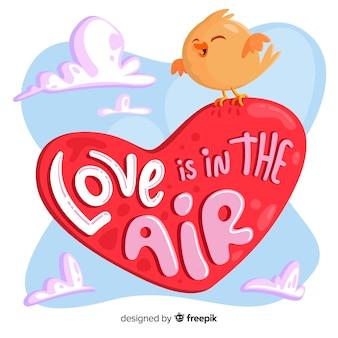 Liefde is in het luchthart met vogel