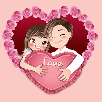 Liefde jong stel huwelijk kaart groet vieren schattig karakter cartoon model emotie