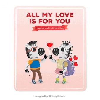 Liefde kaart met zebra's in de liefde