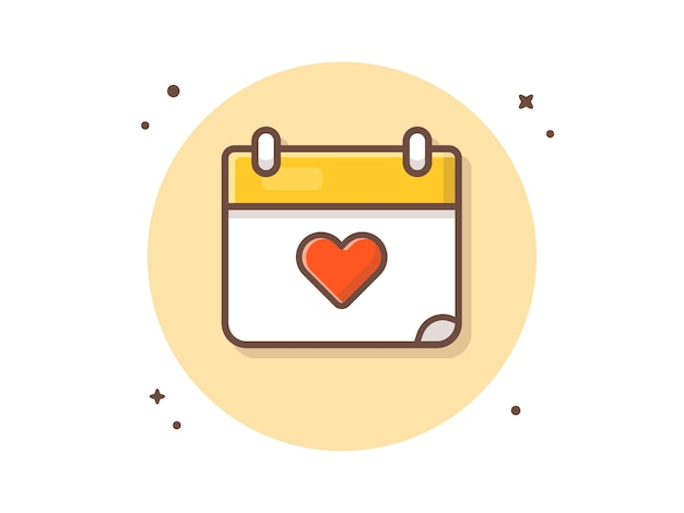 Liefde kalender vector icon illustratie. liefde pictogram concept
