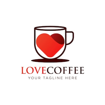 Liefde koffie logo sjabloon ontwerp vector