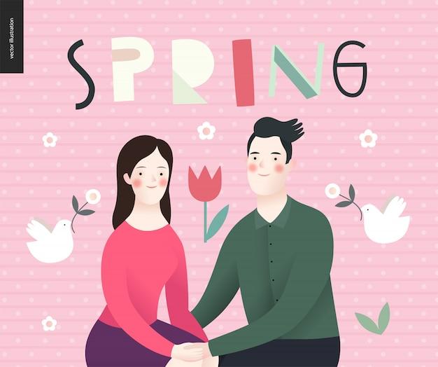 Liefde, lente, bank - een verliefd stel
