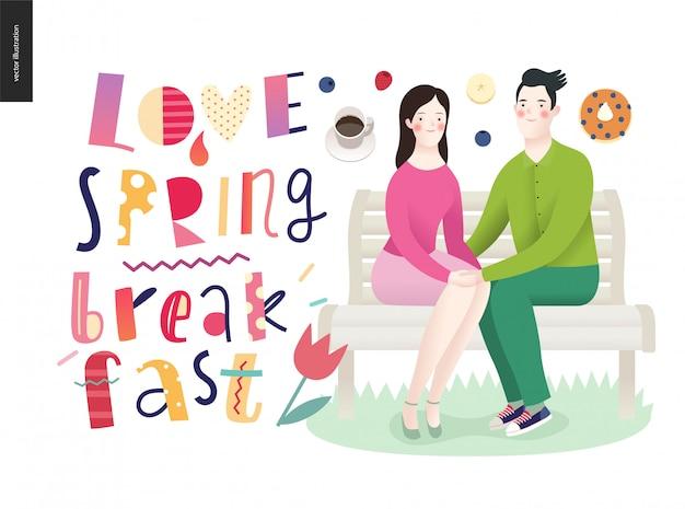 Liefde, lente, ontbijt belettering compositie