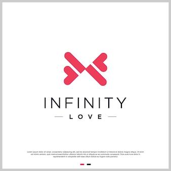 Liefde logo abstract met oneindig concept premium vector