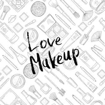 Liefde make-up belettering inkt illustratie