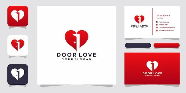 Liefde met deurlogo en visitekaartje Premium Vector