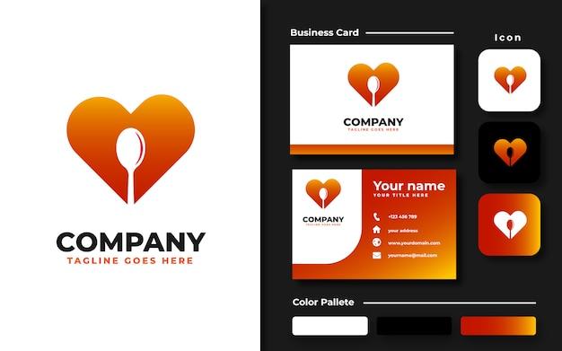 Liefde met lepel logo sjabloon en visitekaartje