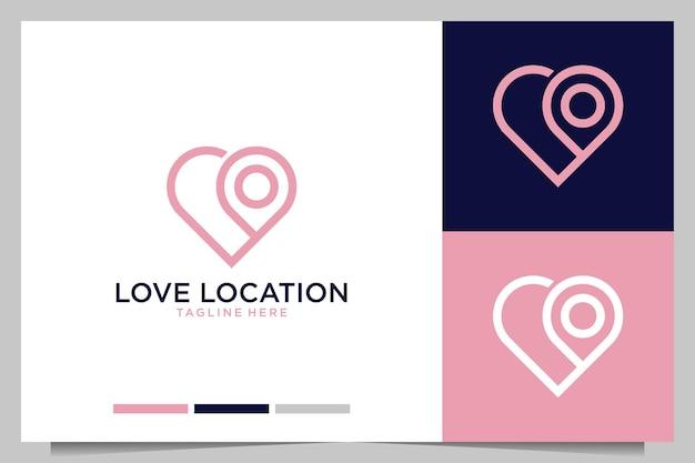 Liefde met locatie lijntekeningen modern logo-ontwerp