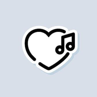Liefde muziek sticker, logo, icoon. vector. liedjes. muziekspeler. afspeellijst-logo. vector op geïsoleerde achtergrond. eps 10