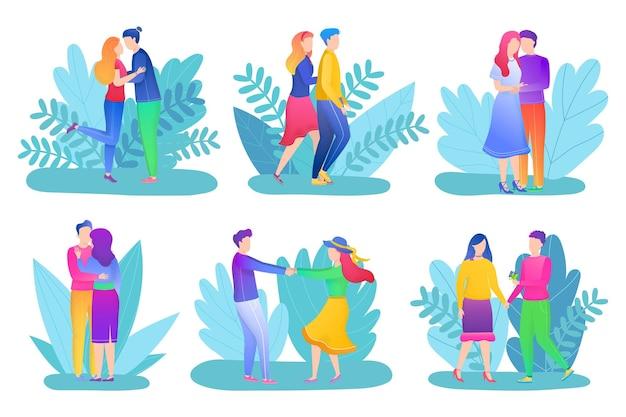 Liefde paar set, vectorillustratie. gelukkig jonge man vrouw karakter in relatie concept, mensen knuffelen, kussen, wandelen op romantische date.