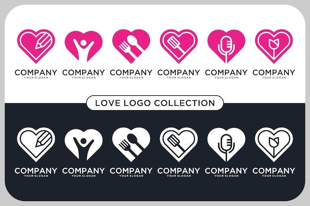 Liefde podcast, gezondheid, eten, onderwijs, bloem logo ontwerp collectie