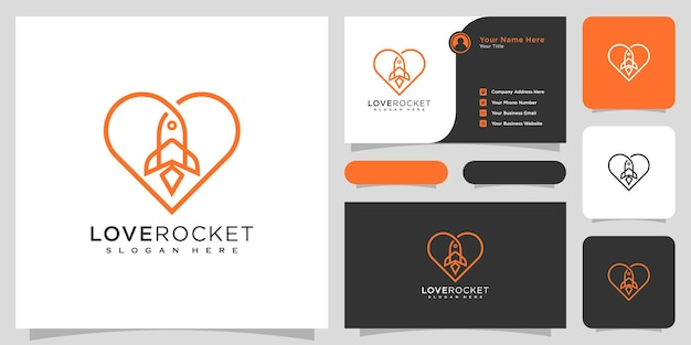 Liefde raket logo vector design lijnstijl en visitekaartje