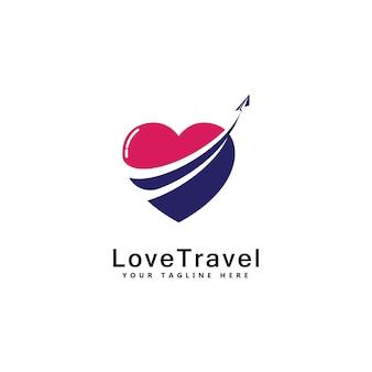 Liefde reizen logo sjabloonontwerp vector embleem ontwerpconcept creatief symboolpictogram